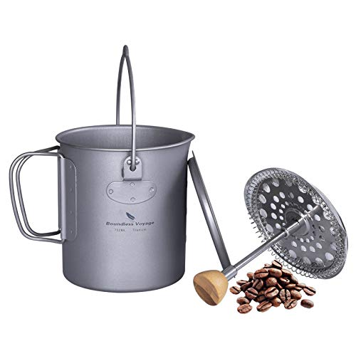 Boundless Voyage Titanium Coffee Cup Camping Mug with Lid French Press Pot Multi-Functional Outdoor Camp Cooking Pot 750ml/25 fl oz