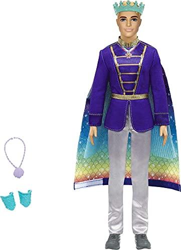 Barbie Ken Dreamtopia Muñeco príncipe tritón, con accesorios y capa transformable en cola de tritón (Mattel GTF93)