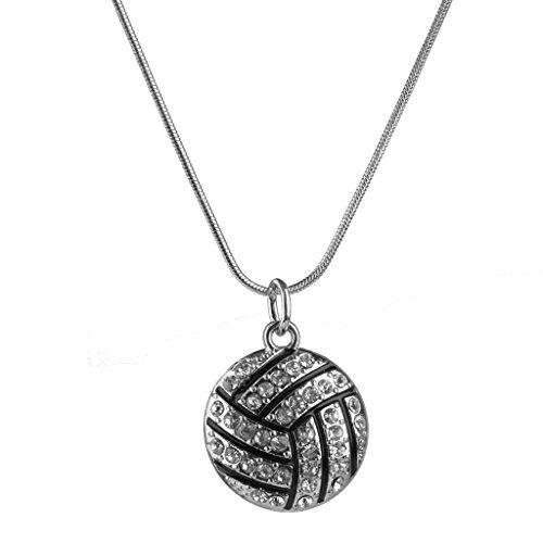 Legierung Rhinestone Volleyball Schlangenkette Anhaenger Bezaubert Halskette Schwarz Silber