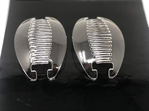2 set Interlocking Banana Combs Hair Clip French Side Comb Holder (Clear)