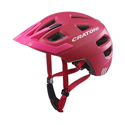 Cratoni Kinderhelm Maxster Pro Fahrradhelm Kinderhelm Jugendhelm mit Rücklicht, Pink Rose, S/M