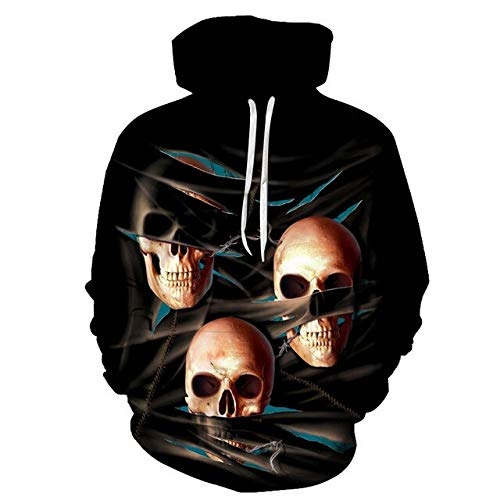 XLGJWY 3D Pullover Hoodies Men'S 3D Printing Hooded Sweatshirt Creative Punk Style Skull Hoodie Fall/Winter Fashion Hoodie Pullover S