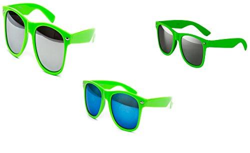 Ciffre 3 er Set Nerd Sonnenbrille Partybrille Festival Sunglass Stil Atzen Brille Grün verspiegelt D934