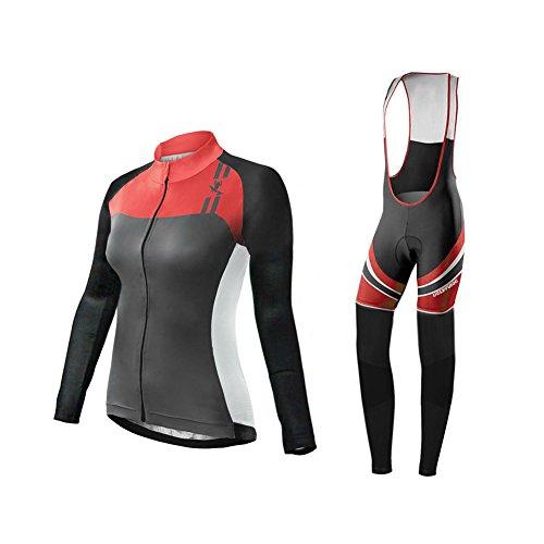 Uglyfrog Abbigliamento Ciclismo Donna Inverno Vello Termico Maglia Manica Lunga +Pantaloni Abbigliamento da Ciclismo Equitazione Anti-Freddo RTWX01