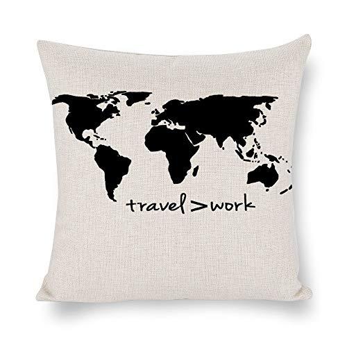 BYRON HOYLE Mapa del mundo con funda de cojín de viaje más grande que el trabajo, funda de almohada, de lino rústico decorativo para sillas, sofá, coche, decoración del hogar, regalo de inauguración de la casa, 45,7 x 45,7 cm