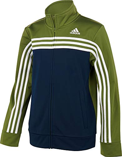 adidas Boy's Colorblock Tricot Jacket (Olive Green/Navy, Medium)