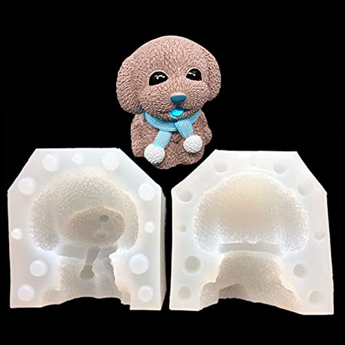 Molde de silicona para tartas Molde de silicona de perro 3D de molde, molde de fondant de caramelo de chocolate lindo grande para la decoración de la torta que hace la resina de la vela y el yeso Cray
