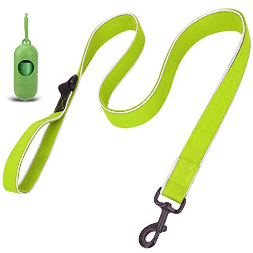 voopet 4 ft Dog Leash, Soft Padded Handle Strong Dog Leash with Dispenser for Poop Bags(Includes 1 roll), Heavy Duty Dog Leash Reflective Rope Dog Leash for Puppy Small Medium Dogs Large Breed Dogs