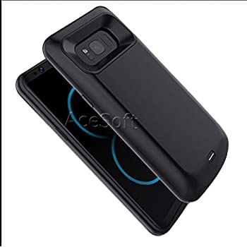 Black High Capacity 6000mAh Portable External Backup Battery Rechargeable Charging Full Edge Protective Case Cover Fast Charging for Samsung Galaxy S9 Plus SM-G965U Phone