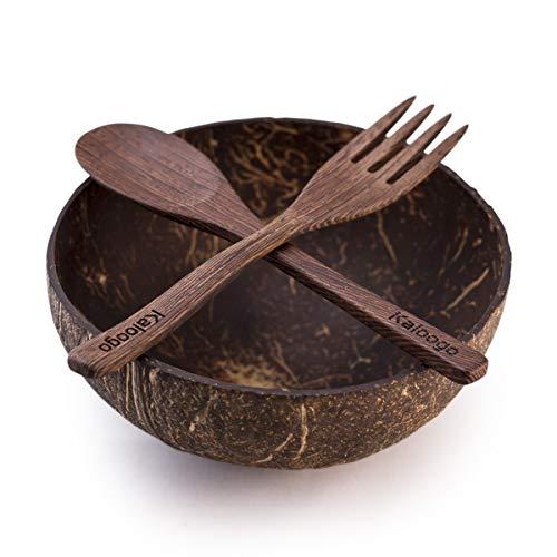 Original Kaloogo Cocobowl Nature - Natürliche Kokosnuss Schale - unpoliert mit Kaloogo Gabel und Kaloogo Loeffel