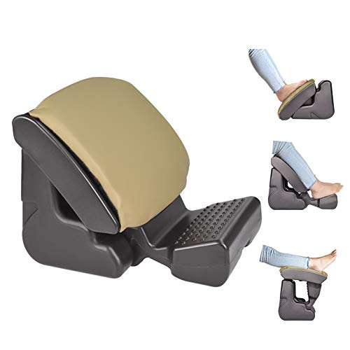 Ergonomic Footrest Foldable Ottomans Angle Height Adjustable Stool with 3 Functional Modes & Massage,Max 120 Pounds Load for Office,Under Desk,Car,Van Beige Color