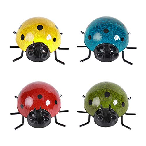 jiashanmeihuangmaoyi Home Pendant,Metal Garden Wall Art Decorative Set Of 4 Cute Ladybugs Outdoor Wall Sculptures,Ladybugs Outdoor Wall Sculptures