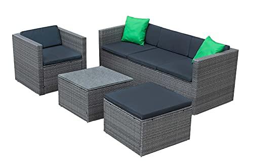 IZER Polyrattan Lounge Farbe: Grau/dunkelgrau. Gartenmöbel Set für 4-5 Personen. Gartenlounge Set mit Sofa, Tisch, Hocker und Sessel - Polyrattan- Grau/Sitzbezüge in dunkelgrau und Zwei grüne Kissen