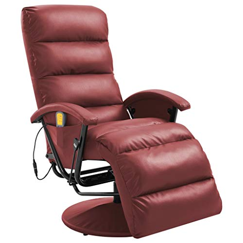 vidaXL TV Massagesessel mit Wärmefunktion Massage Elektrisch Fernsehsessel Relaxsessel Sessel Relaxliege Liegesessel Ruhesessel Weinrot Kunstleder