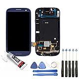 JUANIO Pantalla Completa en Marco Compatible con Samsung Galaxy S3 I9300 Azul + Herramientas + Pegamento B7000