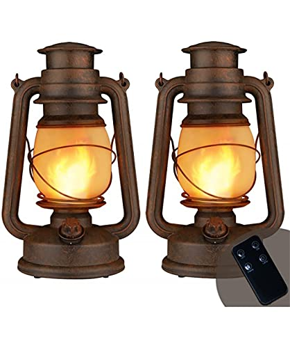 LED Vintage Lantern, Outdoor Hanging Camping Lanterns Flickering Flame Tent Light with Two Modes Night Lights Decorative for Yard Patio Garden Party Indoor with Remote Control, Battery Operated