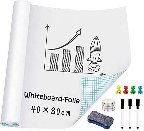 Whiteboard Folie, Selbstklebende Weißwandtafel Folie Wiederbeschreibbar Magnetisches Whiteboard Sticker DIY Whiteboardfolie Kreidetafel Wandaufkleber für Büro Schule Zuhause Küche (40 X 80 CM)
