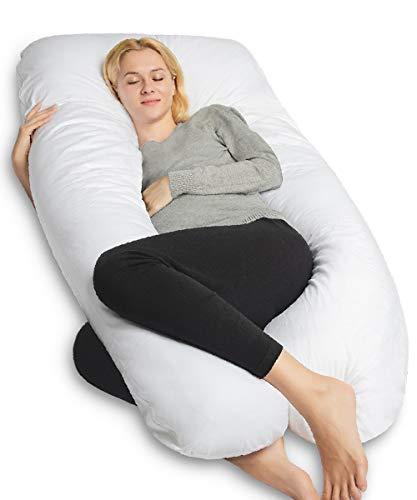 QUEEN ROSE Pregnancy Pillow,U-Shape Full Body Maternity Pillow for Sleeping,Elegant White