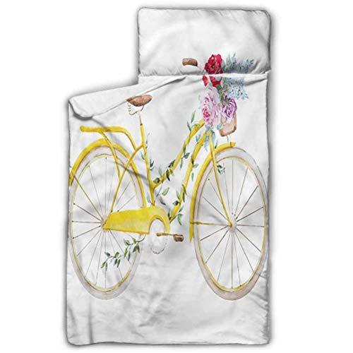 Ahuimin - Alfombrilla para siesta, vintage, bicicleta con flores, 127 x 50 cm, ideal para niños y niñas siestas en guardería, preescolar o jardín de infantes