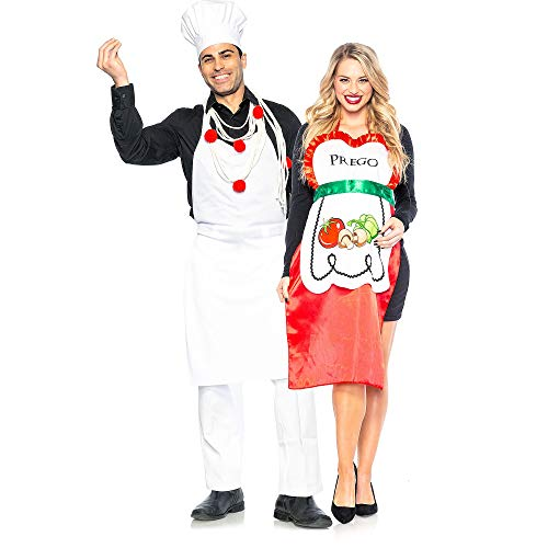 Seeing Red Pasta Chef and Prego Couples Costumes for Adults, Standard Size, Includes His and Hers Punny Aprons