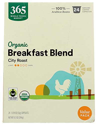 365 by Whole Foods Market, Organic Breakfast Blend Coffee Capsules, 0.39 Ounce (Pack of 24)