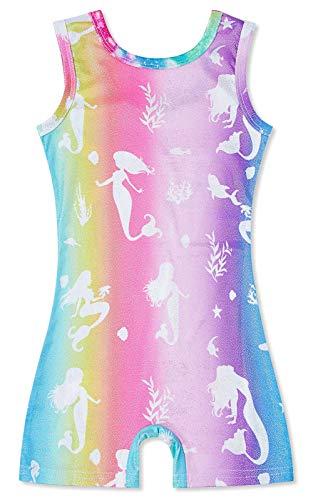 uideazone Girls Tumbling Leotards 5t 6t One Piece Athletic Gymnastics Bodysuit Kid Mermaid Unitards Bikeards