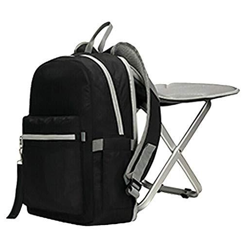 Binggong Rucksack Stuhl Praktischer Tagesrucksack zum Angeln 12.6 X 4.7 X 15.7in Wasserabweisend Sporttasche Leichter Angelrucksack mit Stuhl/Klappstuhl mit für Camping, Wandern (Schwarz)