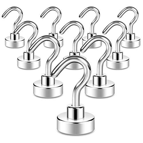 Magnetische Haken, 10 kg, Neodym, Seltenerd-Magnethaken mit 3 Schichten, starker Korrosionsschutz, ideal zum Aufhängen im Innenbereich (Silberweiß, 10 Stück)