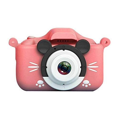 Cámara portátil de Alta definición para niños, Mini Juguetes de Dibujos Animados de Mickey Mouse, cámara Dual Frontal y Trasera, Regalos creativos adecuados para niños (Rosado, 16G)