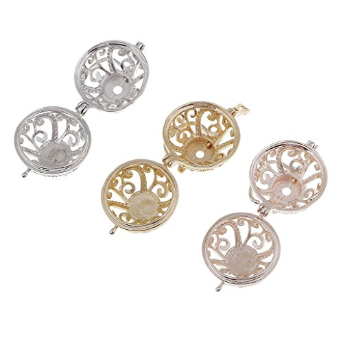 SONGAI 3x Round Beads Cage Pendant Locket Charms For DIY Necklace Bracelet Craft Bracelets Earrings Rings Necklaces