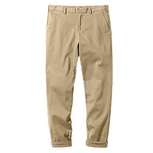 Hombres Primavera Recta Casual Pantalones Hombres Sólidos Mediados de la Cintura de los Hombres Casual Pantalones