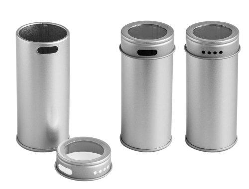 12 er Pack schmale Gewürzdosen mit Streudosierer und Sichtfenster | Ideal für grobe Gewürze oder Kräuter| Höhe: ca. 95 mm, Ø ca. 40 mm | Dosen Material: Weißblech | BPA-frei und lebensmittelecht