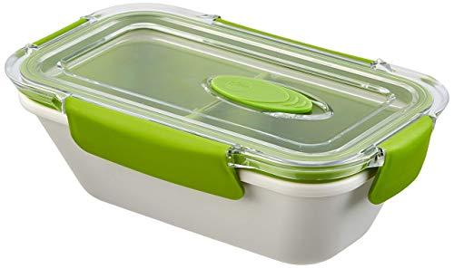 Emsa 513958 Lunchbox mit Deckel, 2 Einsätze, 0,5 Liter, Grün/Weiss, Bento Box