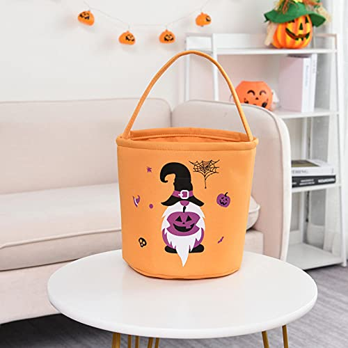 REWE TIK TOK Halloween Candy Bags,1 item-Purple pumpkin head Tote bag,Trick or Treat gift Bags for Kids party Goodie with Drawstring Jute canvas Bags Decorative