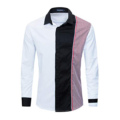 Camisas de Manga Larga para Hombre Camisas de Manga Larga con Bloqueo de Color de Personalidad de Moda Camisas Sueltas Ocasionales S