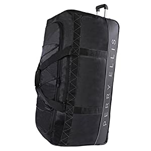 """Perry Ellis Men's Extra Large 35"""" Rolling Duffel Bag-A335, Black/Grey, One Size"""