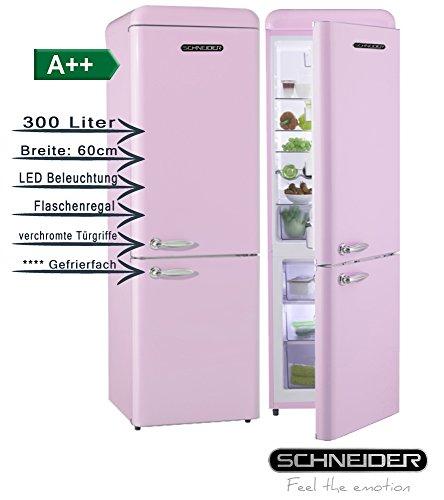 Schneider SL300 SP CB A++ Retro Design - Juego de nevera y congelador (eficiencia energética A++, 60 cm de ancho, 300 litros, congelador, 190 cm de alto), color rosa