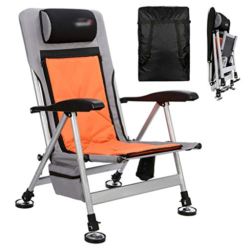 Camping Chair Folding vissen Stoel comfortabele Recliner Wild Fishing Platform Visserij Chair Lifting Terreinwagen Fishing Chair (Color : Orange, Size : 58 * 62 * 90cm)