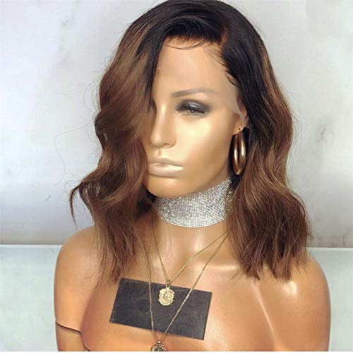 KRN Lace Front Wigs #1B/30 Dark Roots Brown Ombre Virgin Human Hair Natural Wave 130 Density Lace Wigs Pre Plucked with Baby Hair (12inch, Lace Front Wig)