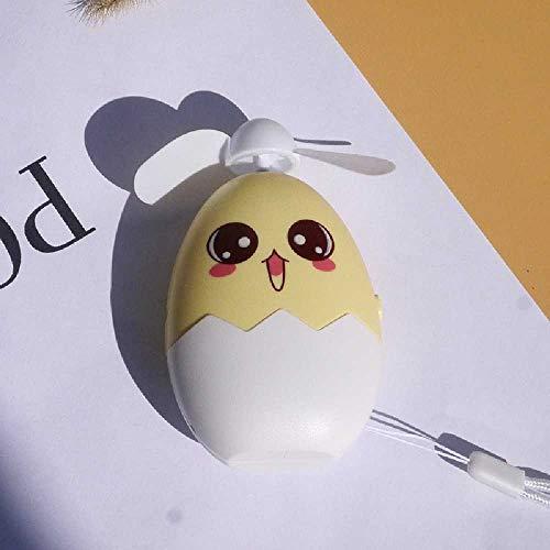 N\C Mini Ventilador USB, Cáscara De Huevo De Expresión De Dibujos Animados, Ventilador De Mano Pequeño Recargable Y Portátil, Ventilador De Bolsillo 7001A Amarillo