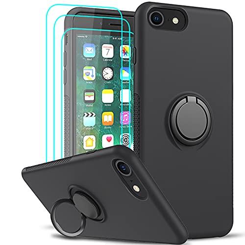 LeYi Funda para iPhone 8 / iPhone 7 / iPhone 6S / iPhone 6 / SE 2020 con [3-Unidades Cristal Templado], Carcasa Silicona Gel Líquida Suave y Antigolpes PC Case 360 Anillo Soporte Cover, Negro