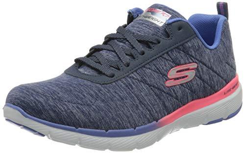 Skechers Flex Appeal 3.0, Zapatillas Mujer, Azul (Navy Mesh/Pink & Purple Trim Nvmt), 37 EU