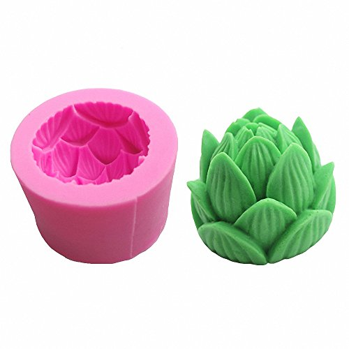 3D Lotus Flower Silicone Mold - MoldFun Lotus Mould for Fondant, Candle, Handmade Soap, Lotion Bar, Bath Bomb, Wax Crayon, Polymer Paper Fimo Clay (Random Color)