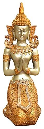 WSJF Abstracto única Estatua Escultura Creativa Escritorio casera de baño decoración Escultura, Creativo arrodillado Buda Estatua decoración Dorada Buddha Escritorio decoración de Resina artesanía