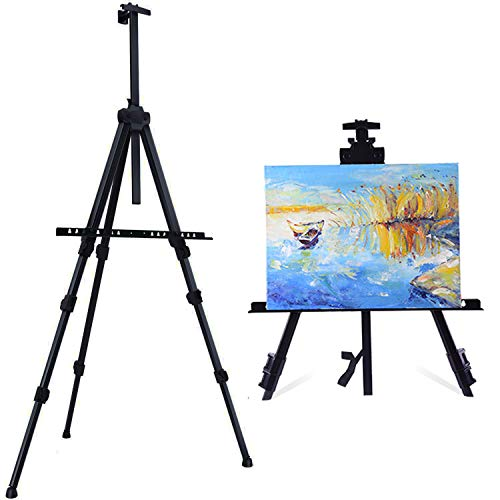 GBYAN Artist Easel Stand Metal Tripod Display Easel with Portable Bag for Floor, Table-Top Painting, Display, Adjustable Height 21'' to 63''(1 Pack)