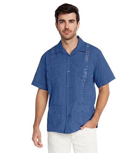 9 Crowns Essentials Men's Guayabera Button Down Shirt-Dark Blue-Small