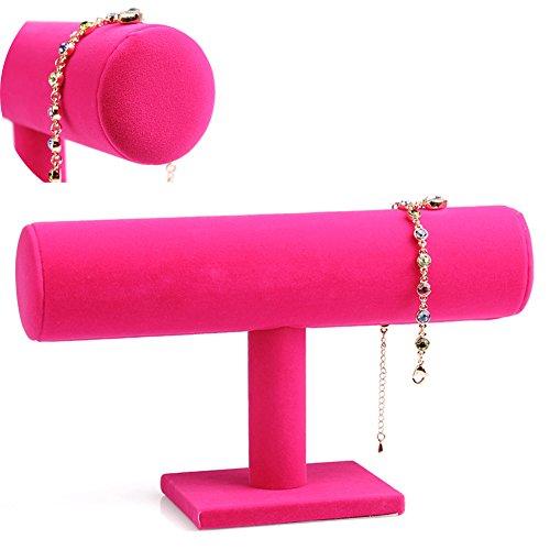 Schmuckhalter, T-förmig, Samtstoff, Leder, Ornamente zum Präsentieren von Halsketten, Armbändern, Haarreifen, Ständer, Velvet Rose Red