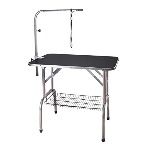 Polar Aurora Pingkay 36'' Black Heavy Duty Pet Professional Dog Show Foldable Grooming Table w/Adjustable Arm & Noose & Mesh Tray