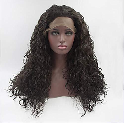 Synthétique dentelle avant perruques femmes's Curly Dark Brown partie libre 180% densité synthétique cheveux réglable dentelle résistant à la chaleur brun foncé perruque longue dentelle avant,20inch