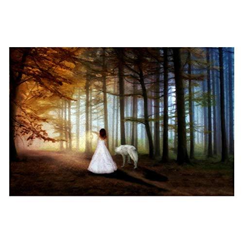 Puzzle für Erwachsene, Motiv: Frau mit einem Wolf, 500 Teile, für Kinder, Jungen und Mädchen, 38,1 x 50,8 cm